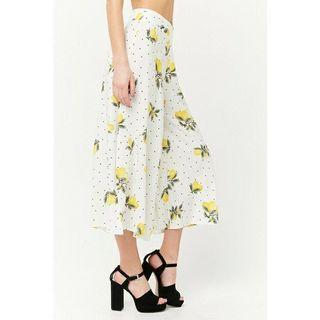 Forever21 Lemon Print Culottes Pants White