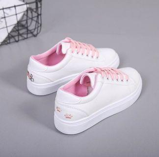 Cat Embroidery Pink Sneaker