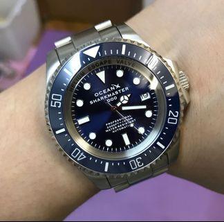 98%新 OCEANX SharkMaster 1000m Automatic 自動錶 陶瓷圈 藍圈藍面 44mm錶面 見圖所有 $2680