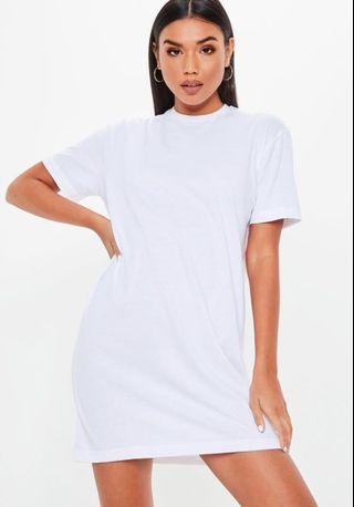 Missguided Petite White T-shirt Dress (Size 2)