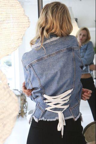 Aje Shields Corset Denim Jacket in Classic Wash - Size 8 RRP $395