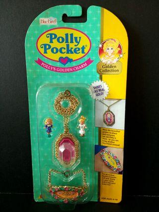 1993 Bluebird Polly pocket golden charm necklace shines like real gold 兒童 玩具頸鏈吊飾