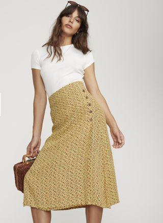 Faithfull Joy Midi Skirt in Raquel Print - Size M/10 RRP $149