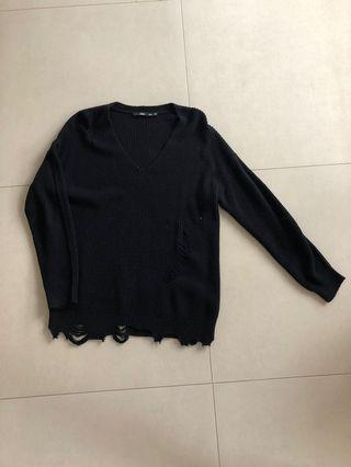 Sportsgirl Black Distressed Knit