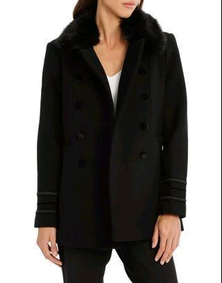 Piper Wool Military Fur Trim Coat in Black - Size XS RRP $200