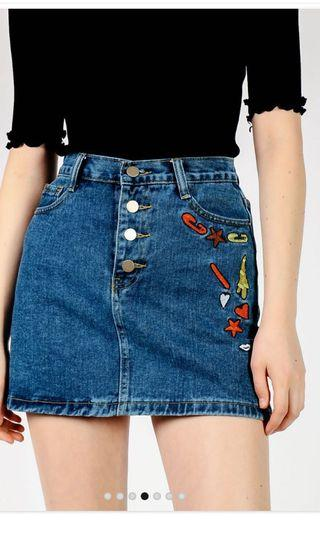 PENDING DSB patches A-line skirt in dark denim