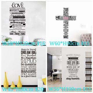 🚚 ✔30 Designs. $10-$20 English Inspiration Religious Texts Bible I can do all things through Christ/Christianity wall sticker Home sweet home / Always Kiss Me Goodnight Stickers DIY home Decor ⭕SIZE or PRICE Writing on the photo