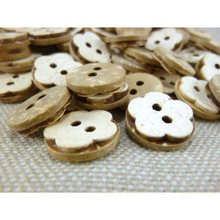 CB12018 - Flower Crafted Coconut Button, Coconut Buttons (10 pieces)    #craft