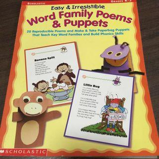 Scholastic Word Family Poems & Puppets
