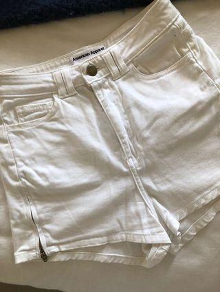 American apparel white denim shorts high waist 6