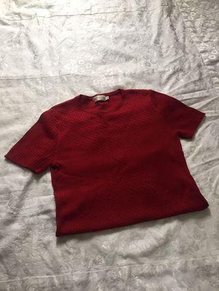 Red Ribbed shirt