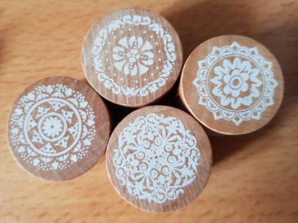 Circle Wood Stamps Intricate Pattern