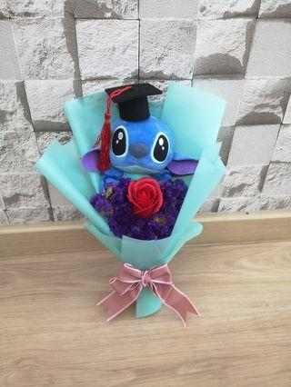 Graduation Stitch with forget me not rose Bouquet