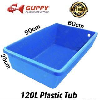 $38 blue plastic aquarium water tub