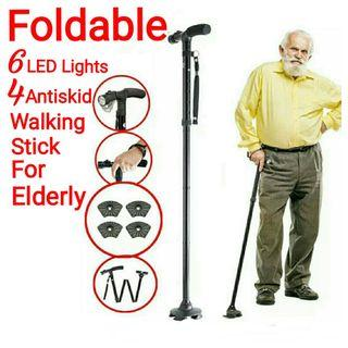 👍👍Old People Folding Telescopic Trekking Poles with LED Light T-handle Hiking Cane Walking Stick for Elders Usual Price :$59.90. Usual Price : $29.90+ FREE mail postage. (Brand new in sealed)