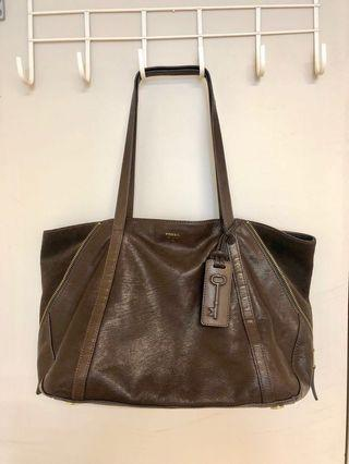 Fossil Dark Brown Leather Tote Bag