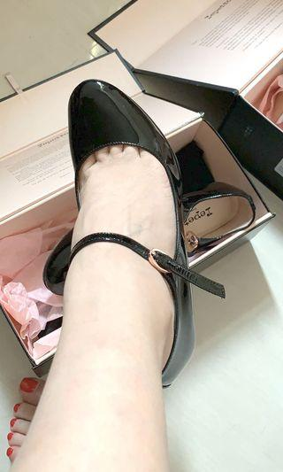 repetto black heeled shoes size 35 法國芭蕾舞圓頭細跟鞋