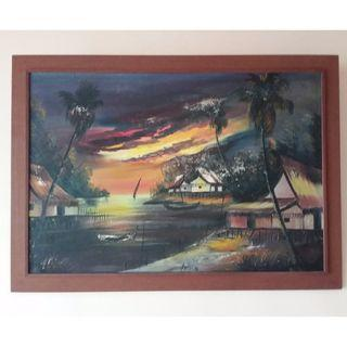 Kampung painting with wood frame  #EndgameYourExcess
