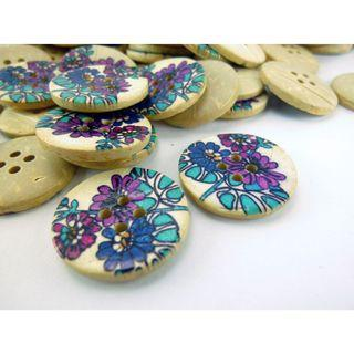 CB11004 - 22mm Flower Printed Coconut Button, Coconut Buttons (10 pieces)  #craft