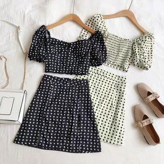 [PO] Hearts Puffy Sleeve Top + A-Line Skirt 2-Piece Set