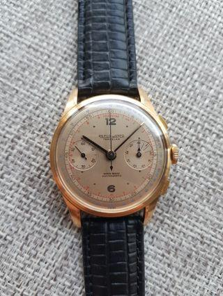 18k solid gold Valjoux 22 large 38mm classic chronograph 1960's