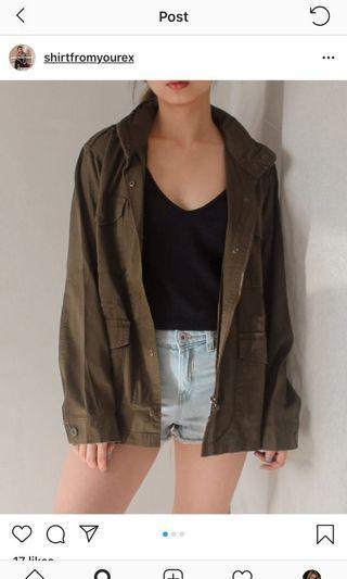 thrift store jacket, army jacket