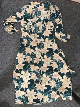 Temt Green Floral Dress Size M