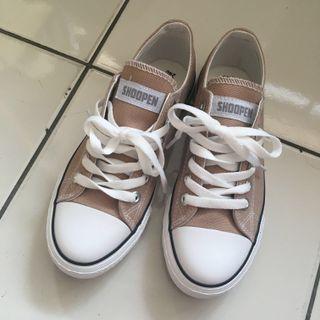 超低價 Shoopen 帆布鞋 奶茶色 24號