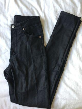 Cheap Monday second skin coated black jeans