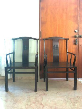 Pair of Chinese Officials Arm Chairs
