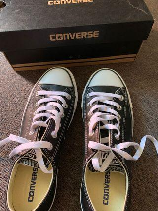New black leather Converse