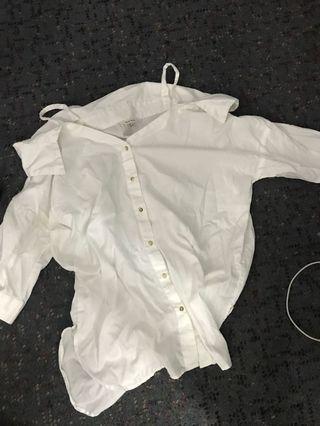 River island white top shirt size 8