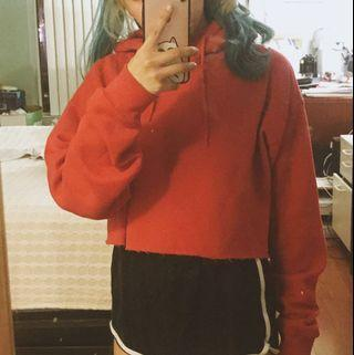 Red Cropped Top Hoodie (UO)