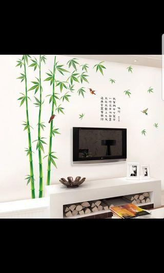 ✔2 in 1 Large Size Simple bamboo removable wall stickers living room sofa TV background wall decoration stickers self-adhesive wall stickers ( Pic 9 USE 2 set $40 )