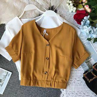 Mustard Buttoned Blouse
