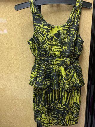Clubbing黃色收腰印花連身裙