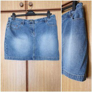Denim jeans skirt. Used. Distressed looked