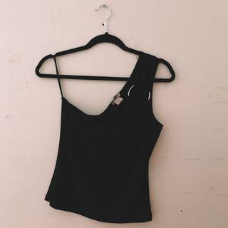 vintage black one shoulder top