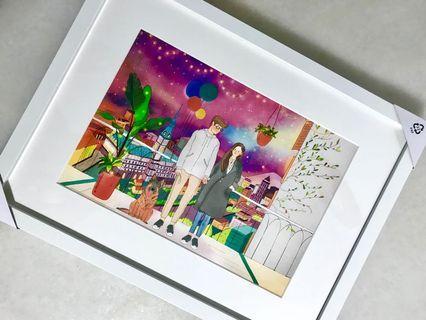 Customised framed digital painting