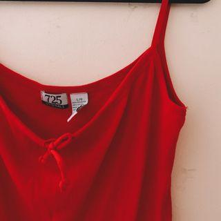 cropped red tank top