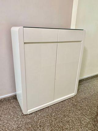 Gloss White cabinet w glass top