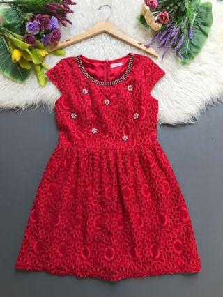 Lace red dress brocade