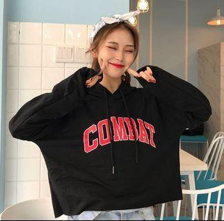 INSTOCK Ulzzang Combat Oversized Cropped Hoodie