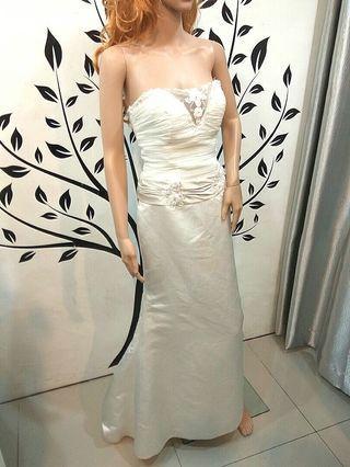 White Wedding Dress with Lace Deep Neckline