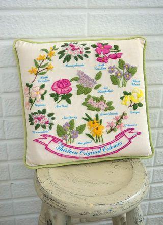 古董州花刺繡抱枕