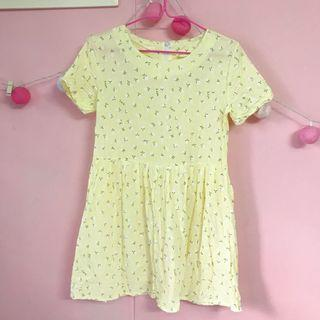 Yellow Floral Babydoll Dress