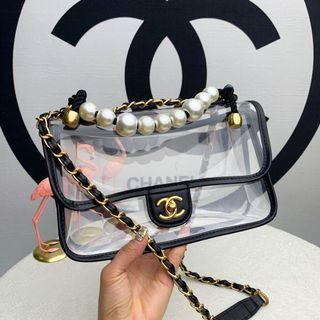 Chanel transparan pearl handle leather authentic