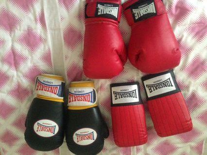 Boxing Gloves x2 practice mitts and headgear