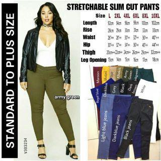 PLUS SIZE STRETCHABLE SLIM CUT PANTS - instock limited