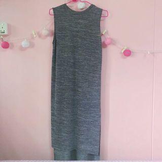 Grey Maxi Slit Dress